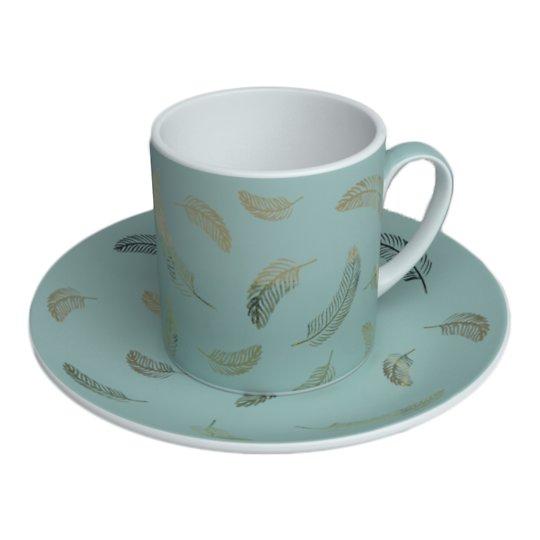 Helesinine kuldsete sulgedega portselanist tee- ja kohvitass alustassiga 20cl