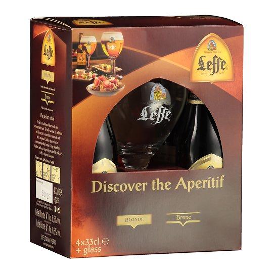 Leffe hele ja tume õlu Kinkepakk + Klaas 4 x 330ml Belgia