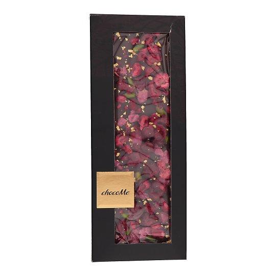Tume šokolaad roosi, kirsi, pistaatsia ja kulla 100g